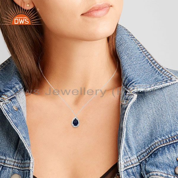 Suppliers Blue Gemstone 925 Sterling Silver Topaz Chain Pendant Manufacturers