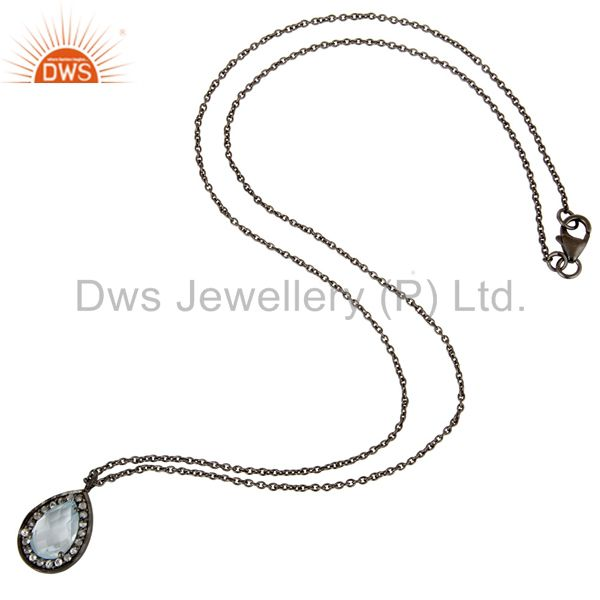Suppliers Oxidized Sterling Silver Blue Topaz And White Topaz Pendant With Chain Necklace
