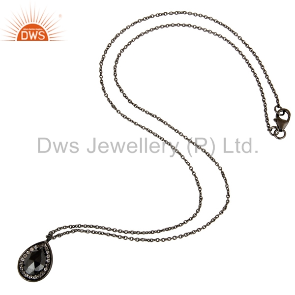 Suppliers 925 Sterling Silver With Oxidized Hematite And White Topaz Pendant With Chain