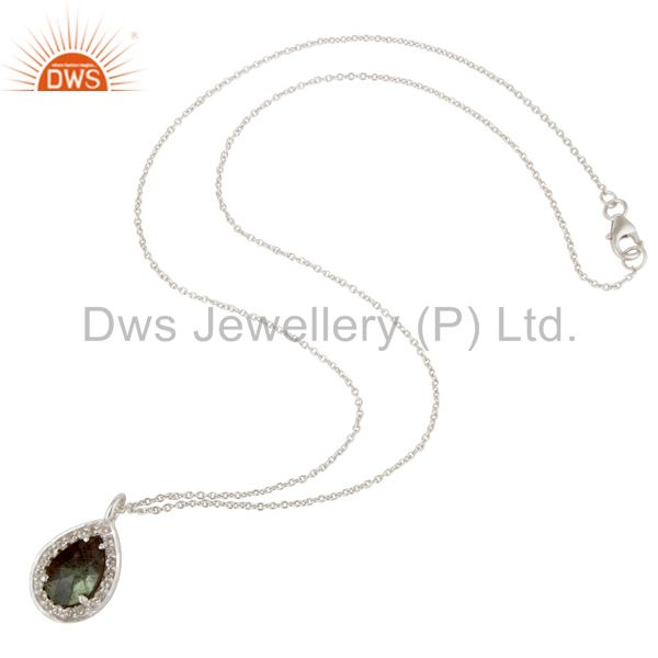 Suppliers 925 Sterling Silver With Labradorite And White Topaz Pendant With Chain