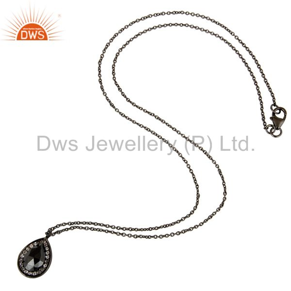Designers 925 Sterling Silver With Oxidized Hematite And White Topaz Pendant With Chain