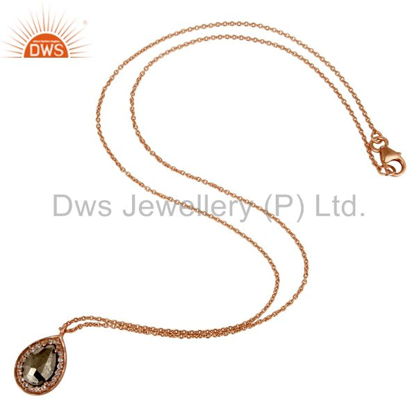 Suppliers 18K Rose Gold Plated 925 Sterling Silver Hematite White Topaz Pendant Jewelry