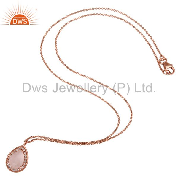 Suppliers 18K Rose Gold Plated Sterling Silver Rose Quartz White Topaz Pendant With Chain