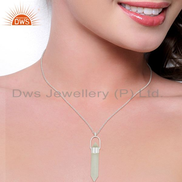 Suppliers Solid Silver Plated Brass White Moonstone Double Sided Point Pendant Necklace
