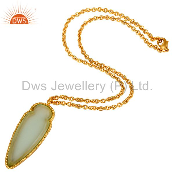Suppliers 14K Yellow Gold Plated Brass Aqua Chalcedony Designer Pendant With Chain
