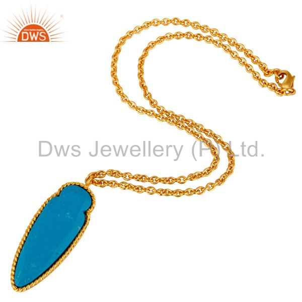 Suppliers 14K Yellow Gold Plated Brass Turquoise Gemstone Fashion Pendant With Chain