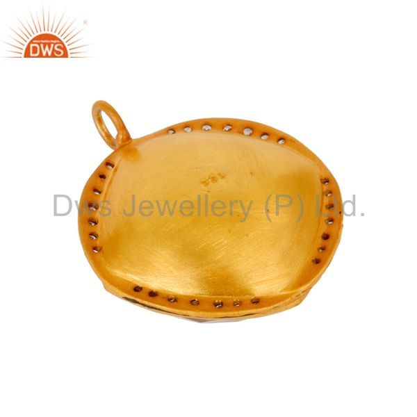 Suppliers 18K Yellow Gold Plated Sterling Silver Crystal Quartz And Cubic Zirconia Pendant