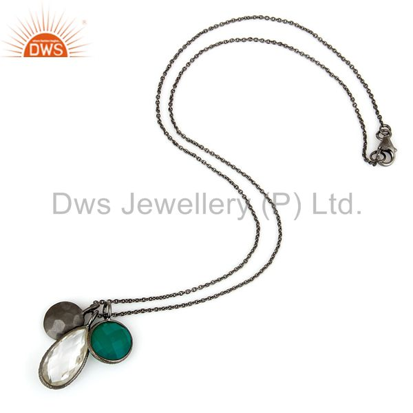 Suppliers Oxidized Sterling Silver Green Onyx And Crystal Quartz Charms Chain Necklace