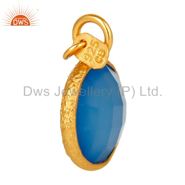 Suppliers 18K Gold Plated Sterling Silver Faceted Blue Chalcedony Bezel Charm Pendant