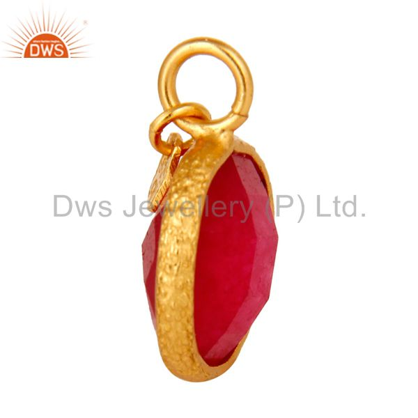 Suppliers 18K Yellow Gold Plated Sterling Silver Red Chalcedony Bezel Set Charm Pendant