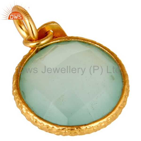 Suppliers 18K Yellow Gold Plated Sterling Silver Aqua Chalcedony Bezel Set Charms Pendant