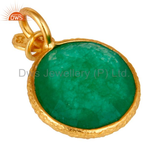 Suppliers 18K Yellow Gold Plated Sterling Silver Green Aventurine Bezel Set Charms Pendant