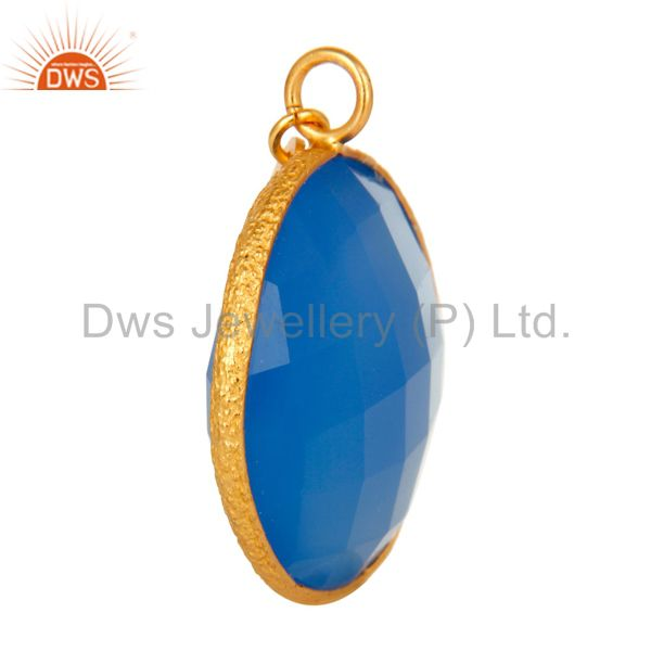 Suppliers 18K Yellow Gold Plated Sterling Silver Blue Chalcedony Bezel Set Charm Pendant