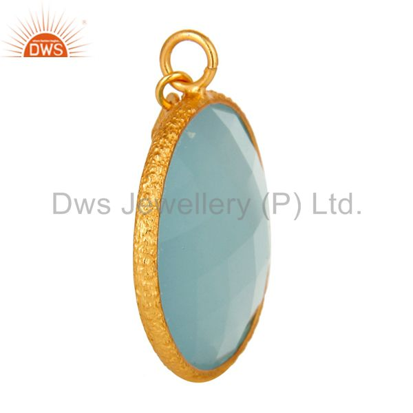Suppliers 18K Yellow Gold Plated Sterling Silver Aqua Chalcedony Bezel Set Charm Pendant