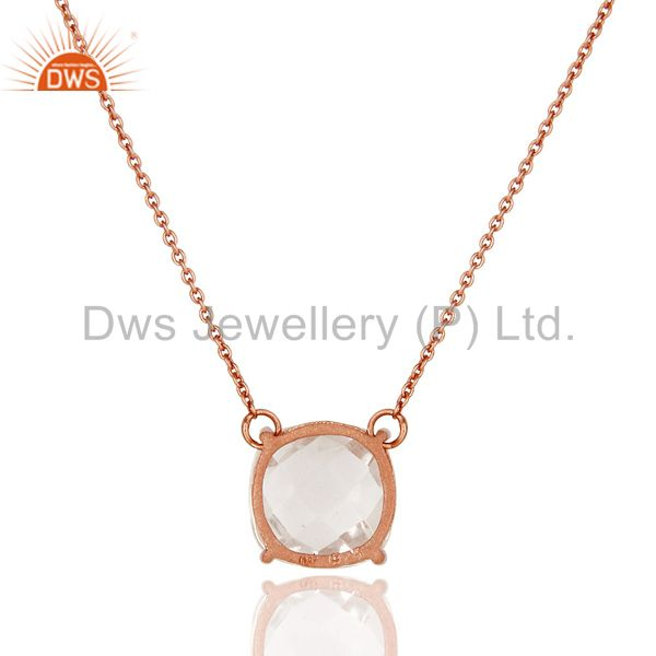Suppliers 925 Sterling Silver Rose Gold Plated Crystal Gemstone Prong Set Chain Necklace