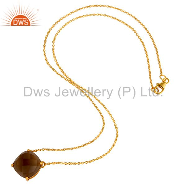 Suppliers 18K Yellow Gold Plated Sterling Silver Smoky Quartz Prong Set Chain Necklace