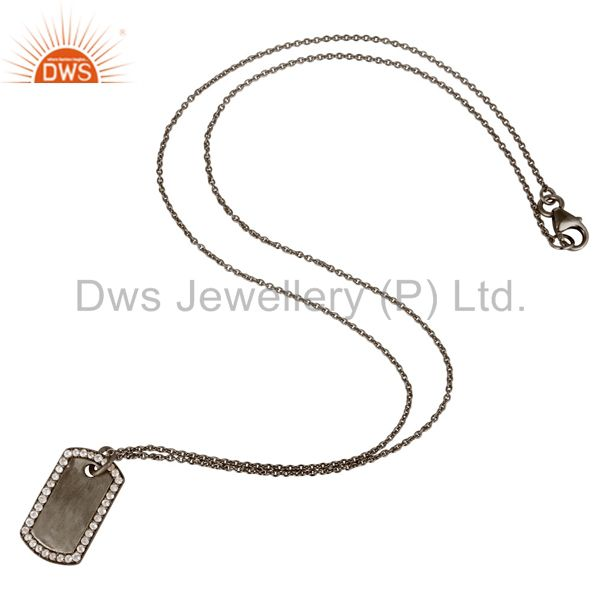 Suppliers Black Oxidized 925 Sterling Silver White Topaz Simple Set Chain Necklace