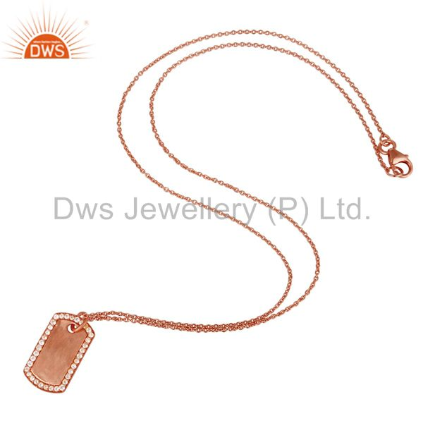 Suppliers 18k Rose Gold 925 Sterling Silver White Topaz Simple Set Chain Necklace