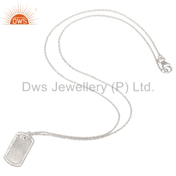 Suppliers White Silver Plated 925 Sterling White Topaz Simple Set Chain Necklace