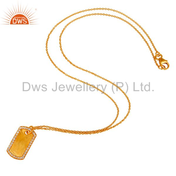 Suppliers 18K Yellow Gold Plated Sterling Silver White Topaz Simple Set Chain Necklace