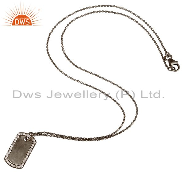 Suppliers Oxidized Sterling Silver White Topaz Pendant With Chain Necklace