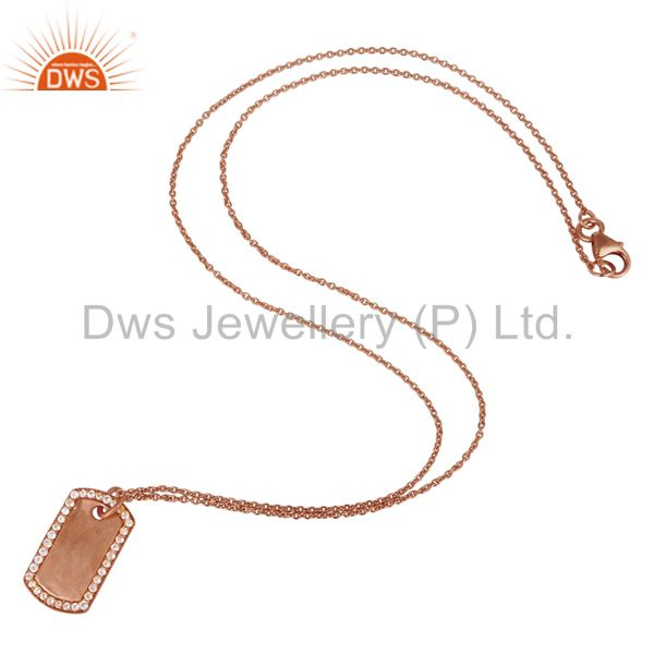 Suppliers 18K Rose Gold Plated Sterling Silver White Topaz Strip Pendant With Chain