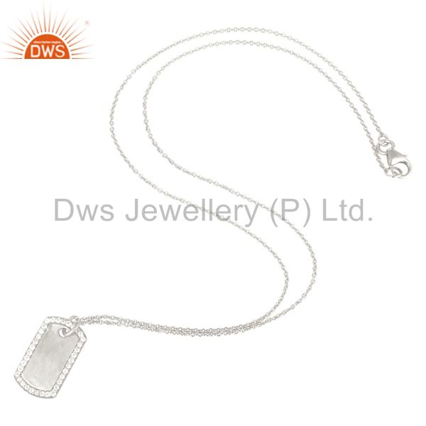Suppliers 925 Sterling Silver White Topaz Designer Pendant With Chain Necklace