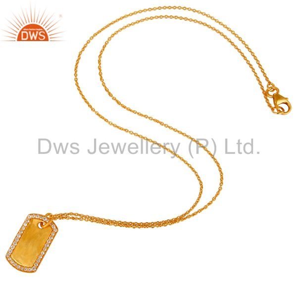 Suppliers 18K Yellow Gold Plated Sterling Silver White Topaz Pendant Chain Necklace