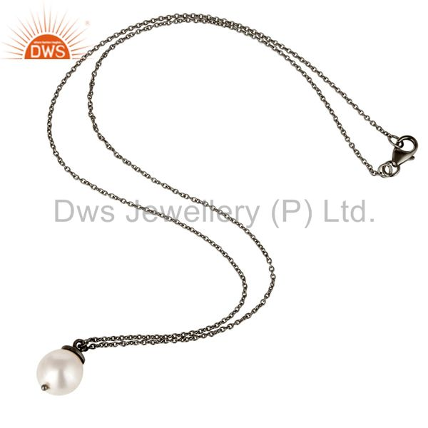Suppliers 925 Sterling Silver With Oxidized White Pearl Designer Pendant With Chain