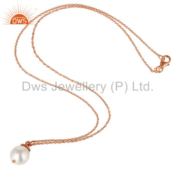 Suppliers 18K Rose Gold Plated Sterling Silver White Pearl Designer Pendant With Chain