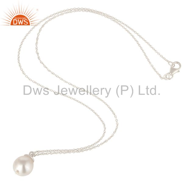 Suppliers 925 Sterling Silver White Pearl Designer Pendant With Chain Necklace