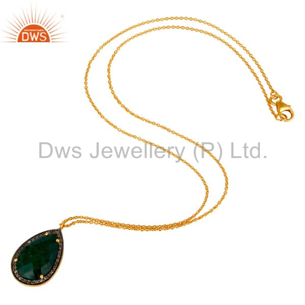 Suppliers 18K Yellow Gold Plated Sterling Silver Pave Diamond Emerald Pendant Necklace