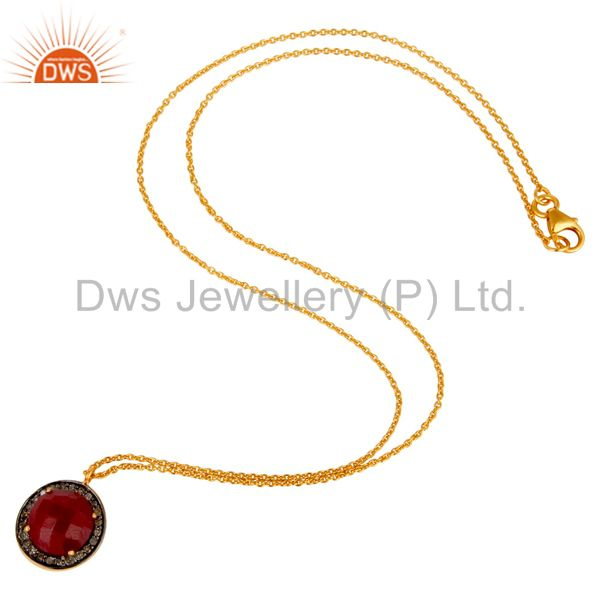Suppliers 18K Yellow Gold Plated Sterling Silver Pave Diamond And Ruby Pendant Necklace