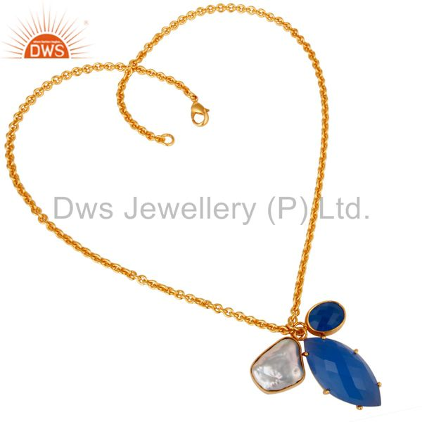 Suppliers Blue Chalcedony and Pearl Bezel and Prong Set Handmade 18k Gold Plated Necklace
