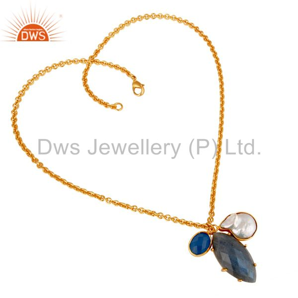 Suppliers Blue Chalcedony Pearl and Labradorite Handmade 18k Gold Plated Necklace