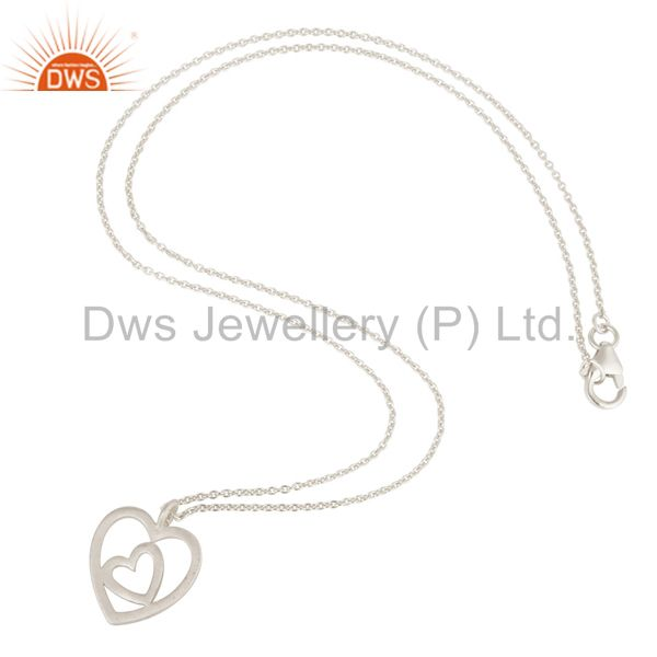 Suppliers Double Heart Solid Sterling Silver Pendant Necklace With Chain