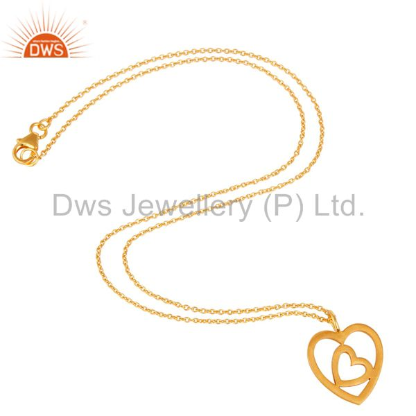 Suppliers 18K Yellow Gold Plated Double Heart Sterling Silver Pendant Necklace