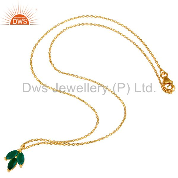Suppliers 18k Yellow Gold Plated Sterling Silver Prong Set Green Onyx Pendant with Chain