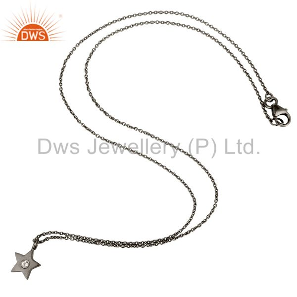 Suppliers Black Oxidized Sterling Silver Star Design White Topaz Pendant with Chain