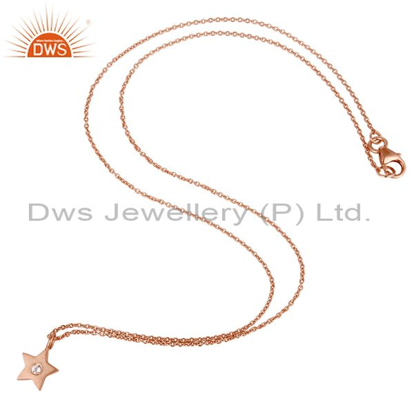 Suppliers 18k Rose Gold Plated Sterling Silver Star Design White Topaz Pendant with Chain