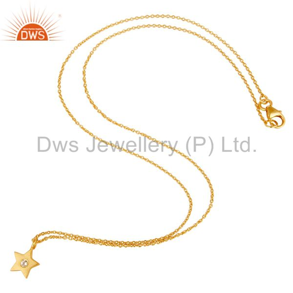 Suppliers 18k Yellow Gold Plated Sterling Silver Star Design Pendant with Chain