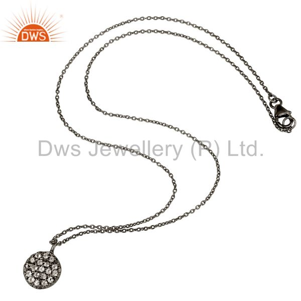 Suppliers Fashion Round Single White Topaz Pendant With Black Oxidized Sterling Silver