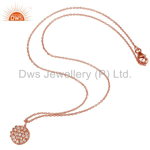 Suppliers Round Single White Topaz Chain Pendant With 18k Rose Gold Plated Sterling Silver
