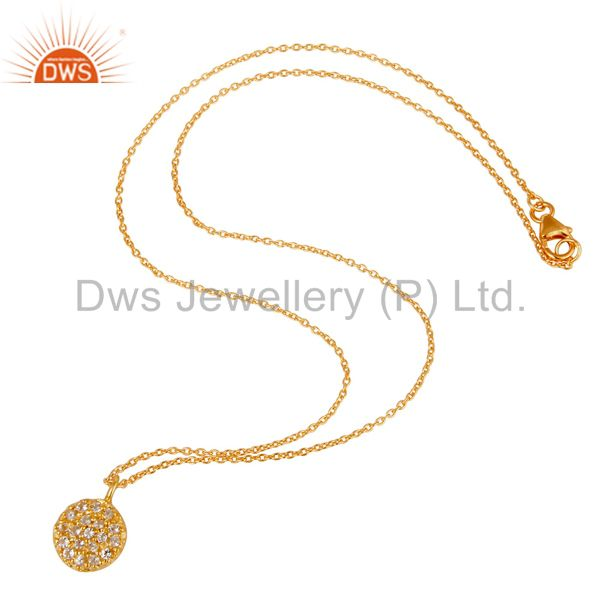 Suppliers Fashion Round Single White Topaz Pendant With 18k Gold Plated Sterling Silver