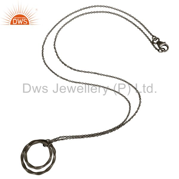 Suppliers Black Oxidized 925 Sterling Silver Classic Double Round Pendant With Chain