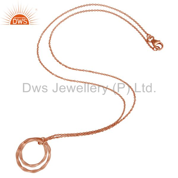 Suppliers 18k Rose Gold Plated 925 Sterling Silver Classic Double Round Pendant With Chain