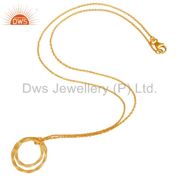 Suppliers 18k Gold Plated 925 Sterling Silver Classic Double Round Pendant With Chain