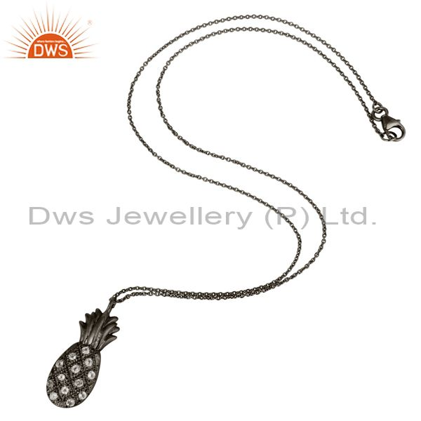 Suppliers Black Oxidized Sterling Silver Pineapple Design Chain Pendant with White Topaz