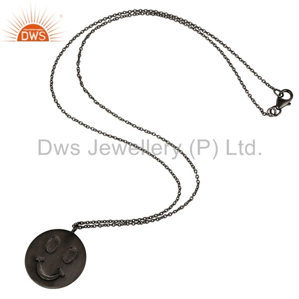 Suppliers Handmade Black Oxidized Sterling Silver Face Carving Pendant with Chain