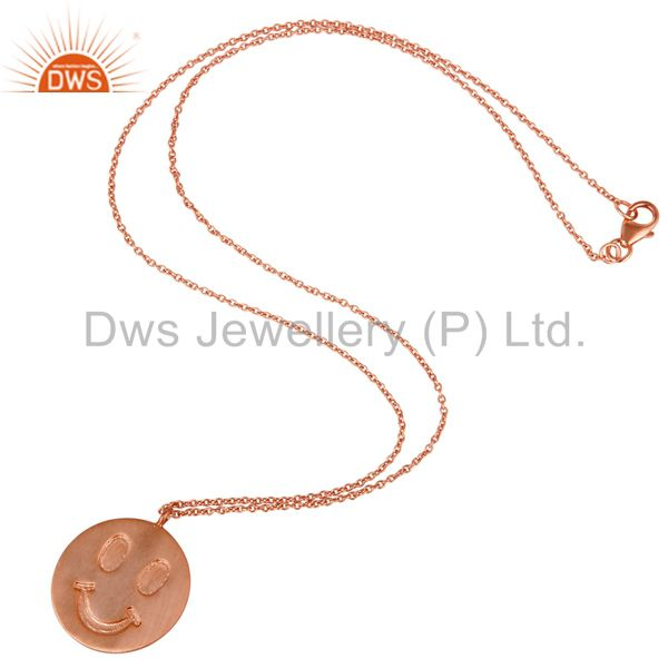 Suppliers 18k Rose Gold Plated Sterling Silver Face Carving Pendant with Chain
